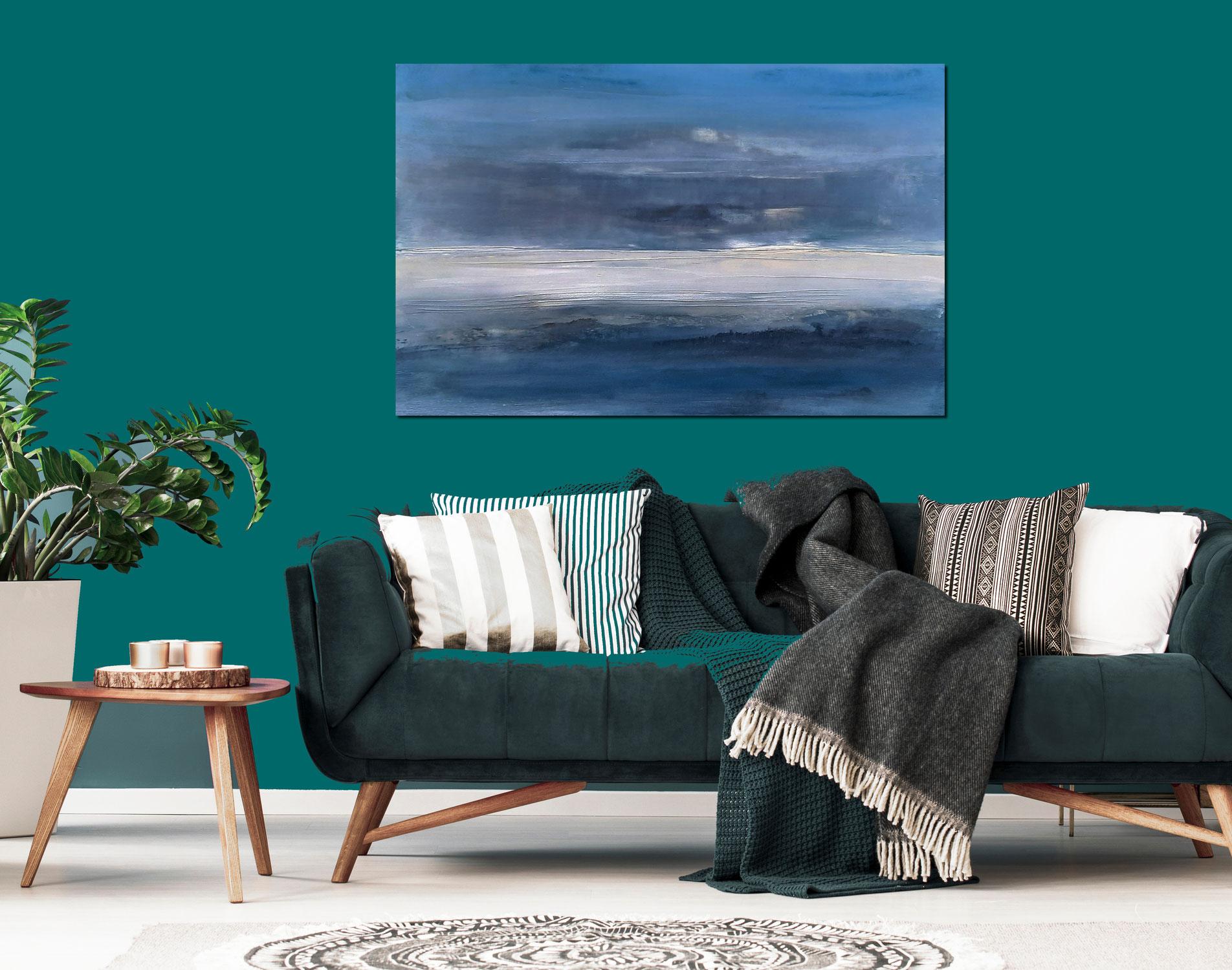 150 x 100 cm - Blaues Landschaftsbild