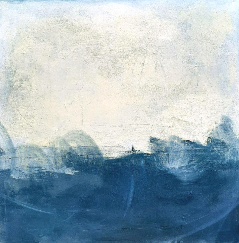 100 x 100 cm - Stürmische Zeiten -blau  weisses Bild