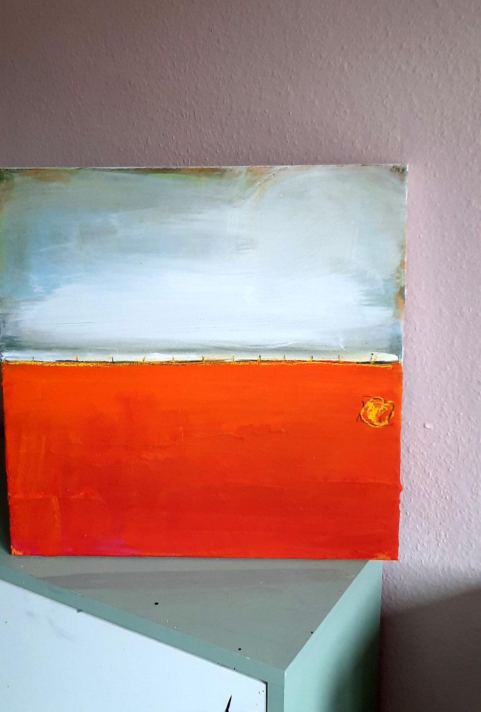 Bild in orange hellblau weiss
