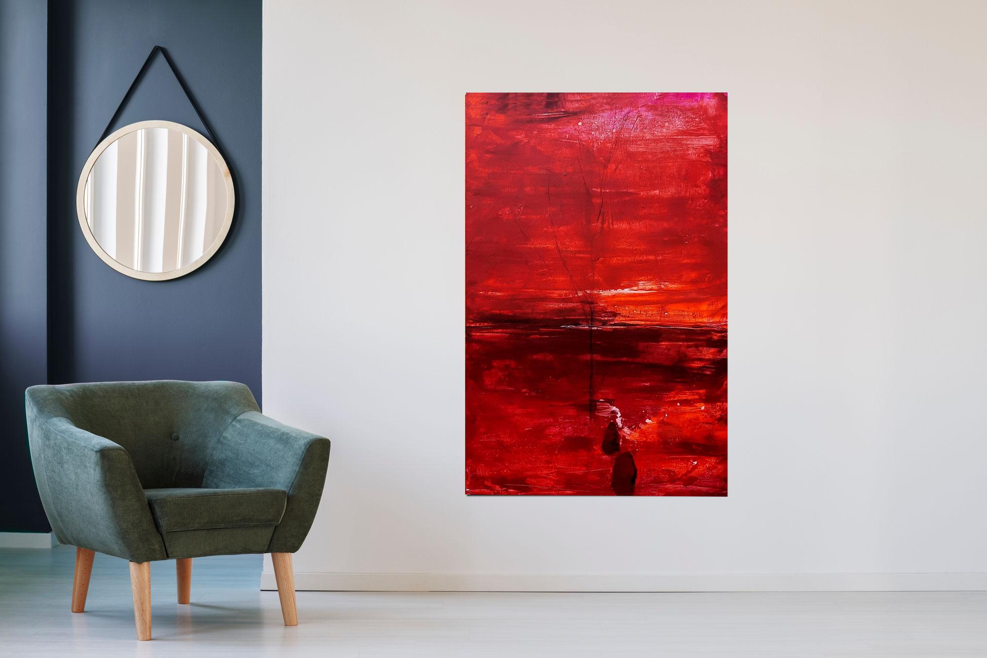 Neues dunkelrotes Bild 160 x 100 cm entstanden