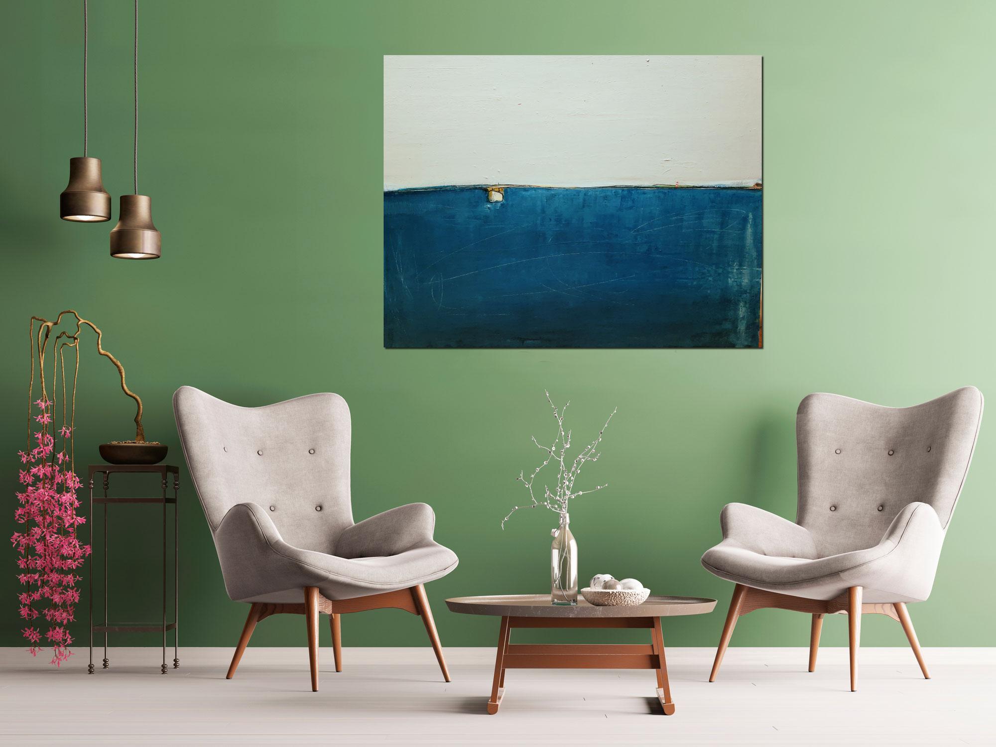 blaues Bild 100 x 120 cm