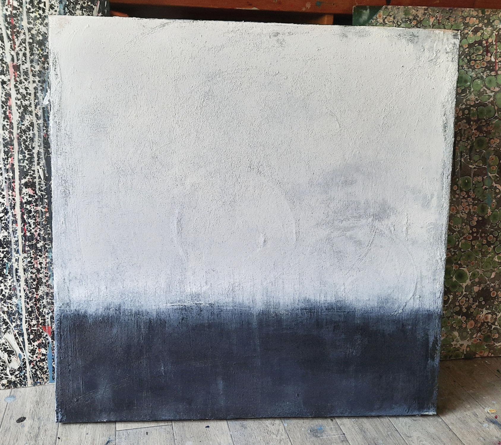 Abstraktes weißes Bild mit paynesgrau