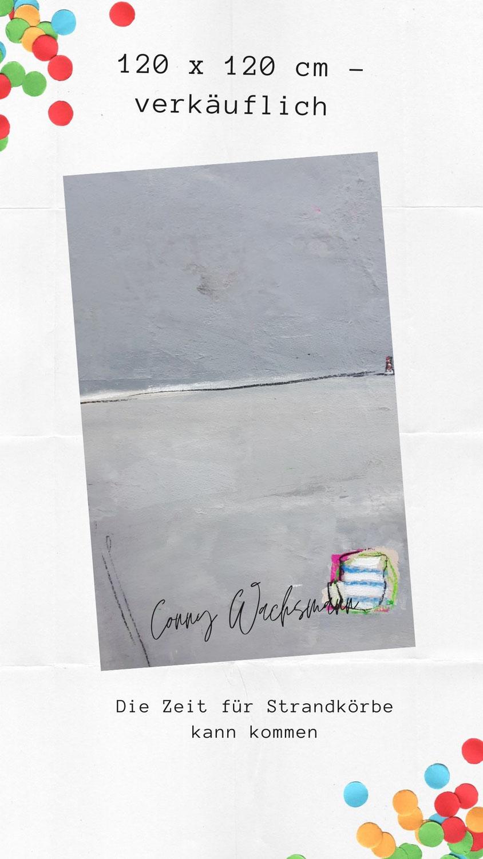 abstraktes graues Bild mit Strandkörben