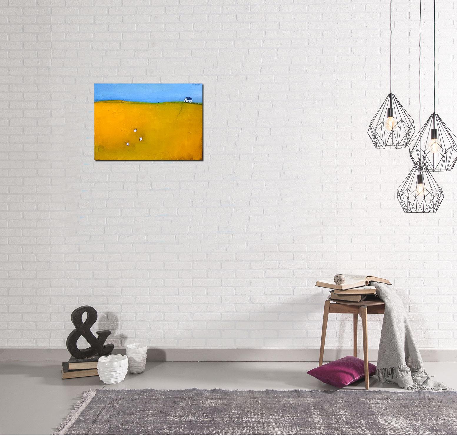 Landschaftsbild mit Haus und Schafen