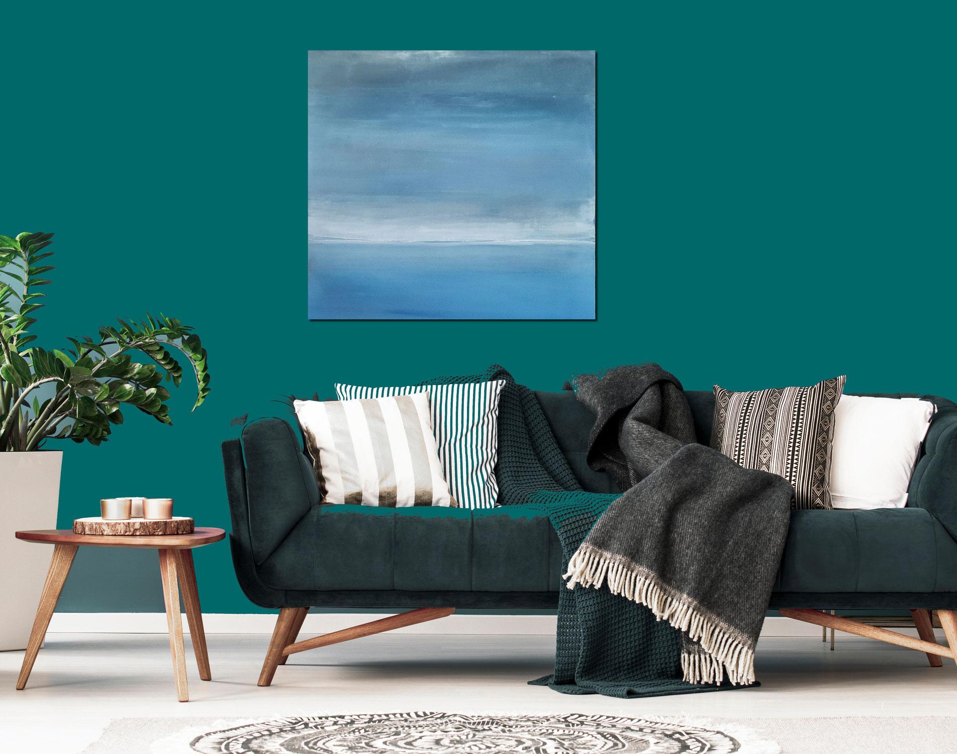 Ruhige See - Blaues Bild 100 x 100 cm
