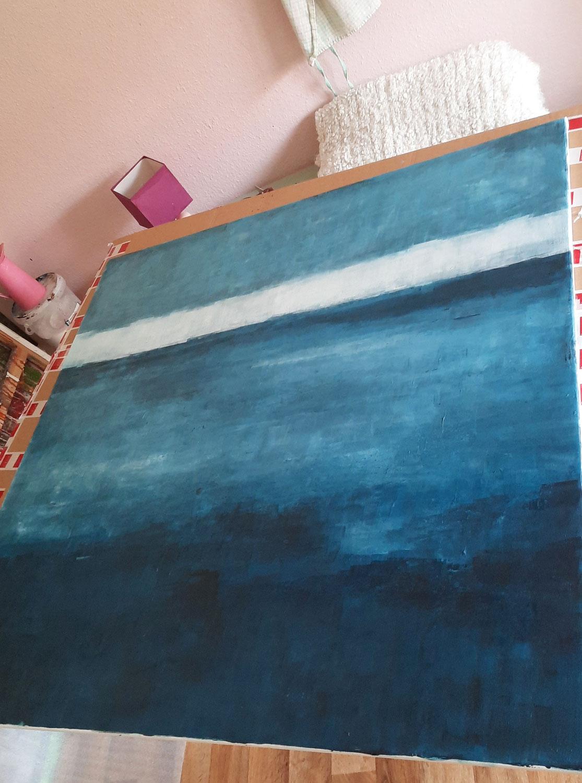 Blaues Bild mit schmalem Keilrahmen