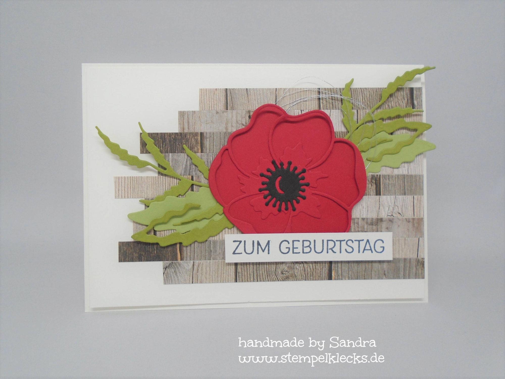 Geburtstagskarte - Mohnblüte