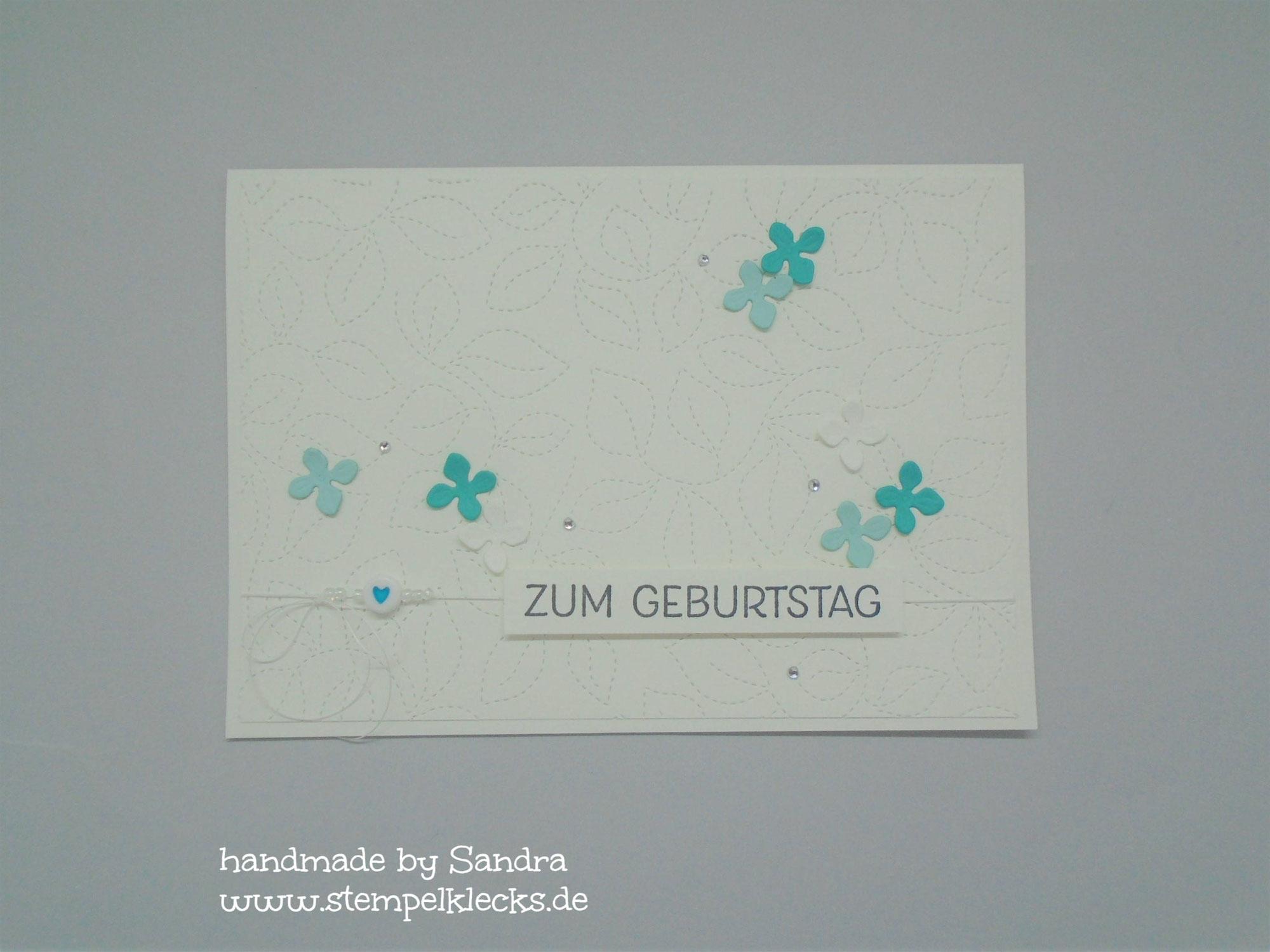 Geburtstagskarte - Gesticktes Laub
