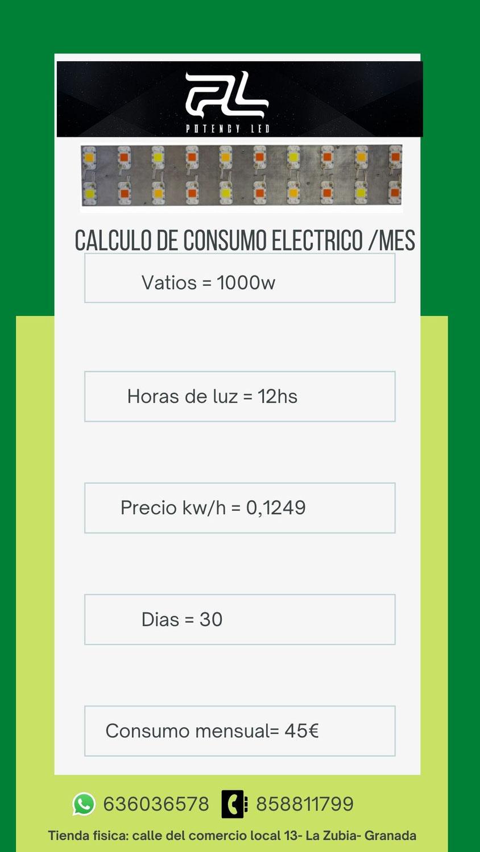 Calculo de consumo eléctrico al mes