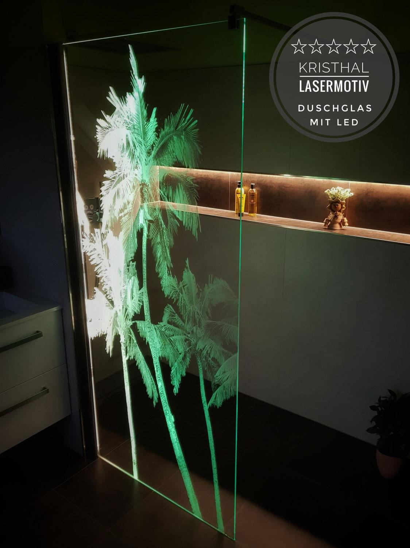 Lasermotiv Duschtrennwand mit LED Beleuchtung