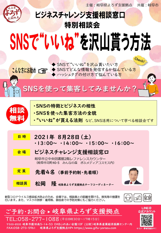 8/28 SNS特別相談会 開催のお知らせ(ぎふメディアコスモス))