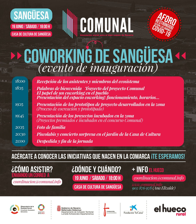 Comunal Navarra: Inauguración del Coworking de Sangüesa el 19 de junio en su Casa de Cultura
