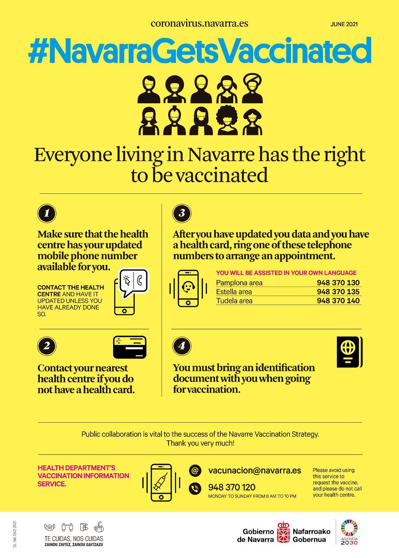 Vacunación contra el Covid-19: Todas las personas que vivimos en Navarra tenemos derecho a la vacuna