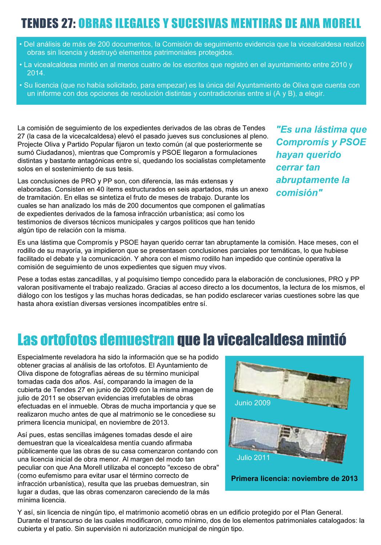 Tendes 27: Obras ilegales y sucesivas mentiras de Ana Morell