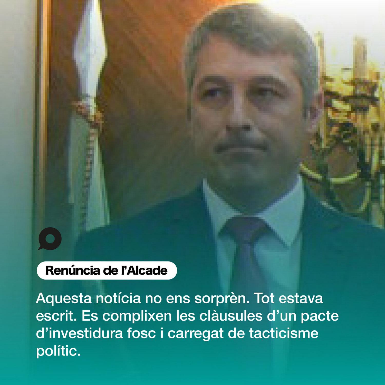 David González acaba d'anunciar en xarxes socials que deixa l'alcaldia