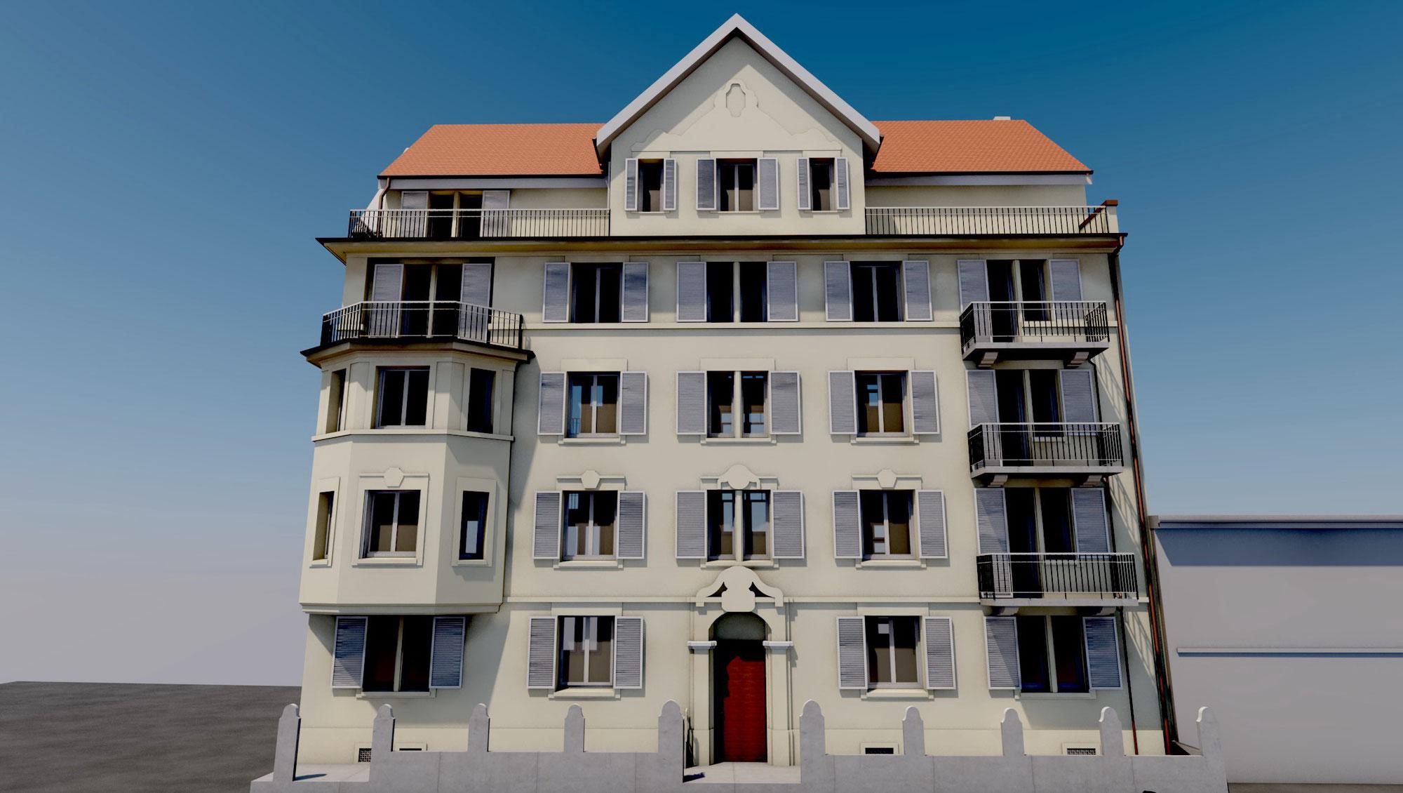 Detailreiches Mehrfamilienhaus