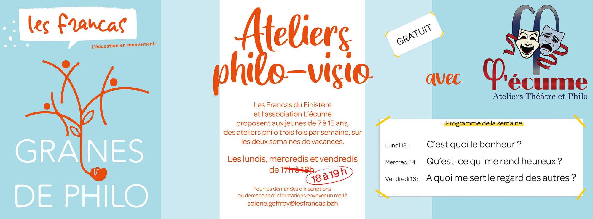 Opération spécial vacances de Printemps : 5 ateliers philo en Visio gratuits avec les Francas du 29