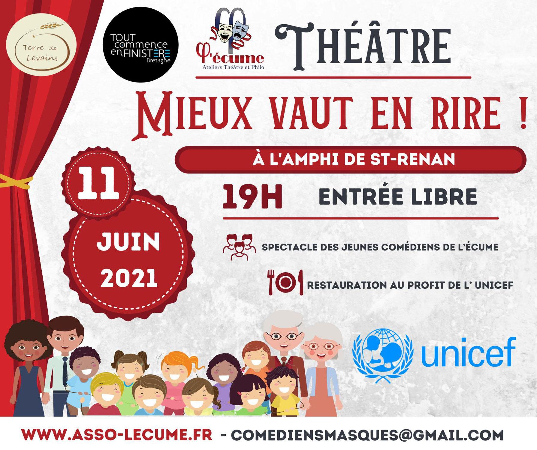Spectacle de théâtre des jeunes comédiens de l'écume au profit de l'UNICEF