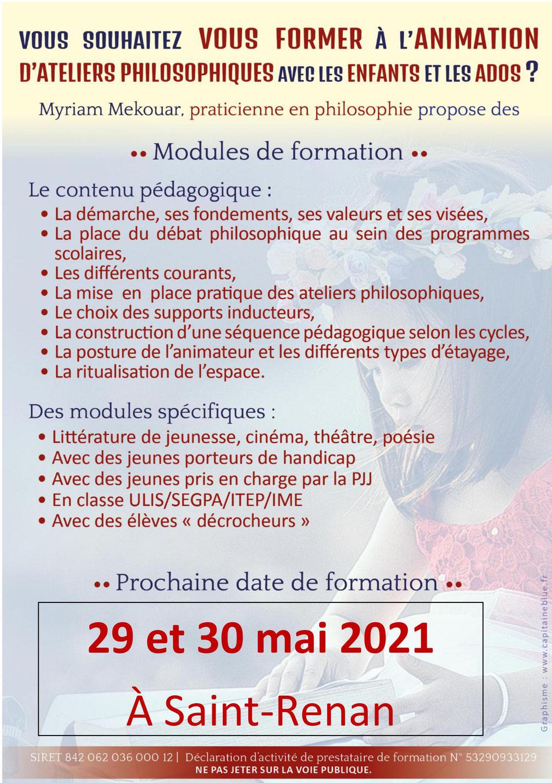 Formation à l'animation d'ateliers philo les 29 et 30 mai