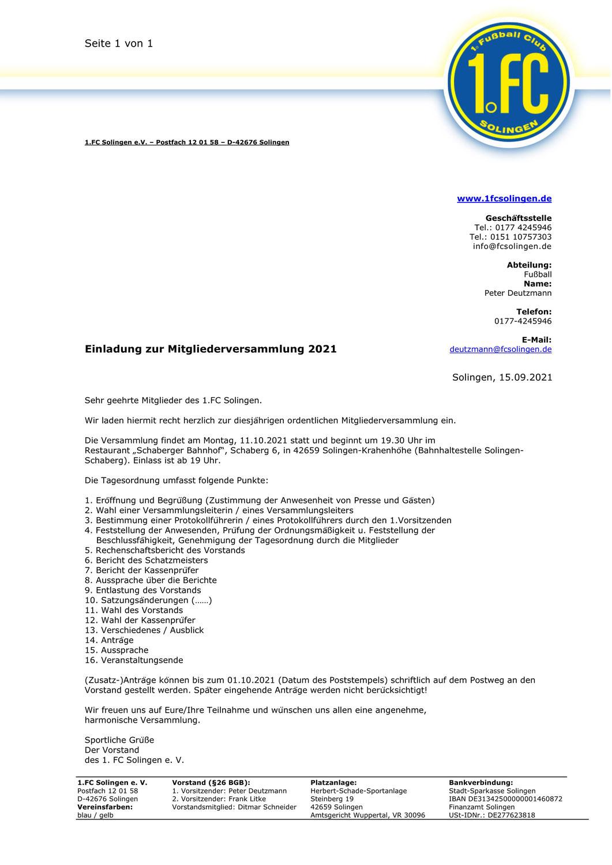 Mitgliederversammlung am 11. Oktober 2021