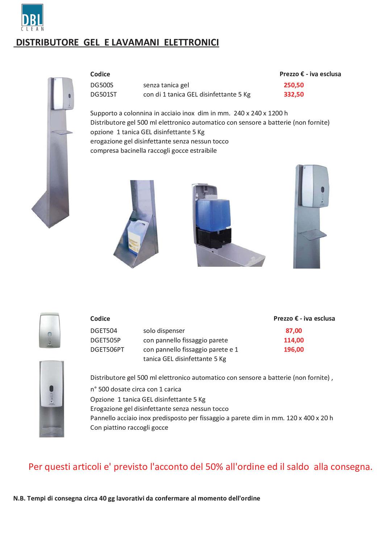 Disponibile su ordinazione - Distributore gel disinfettante mani elettronico/automatico