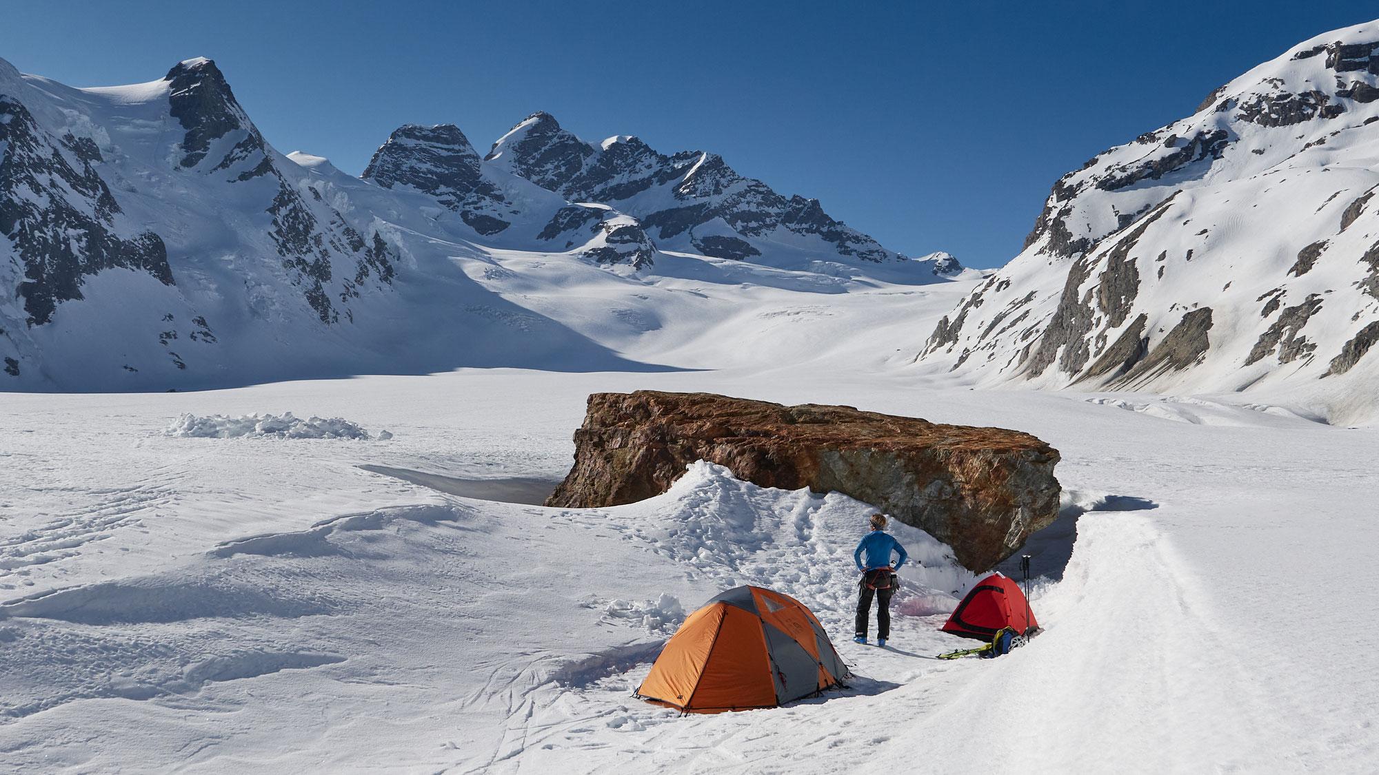 Konkordiaplatz Winterzelten und Skihochtouren