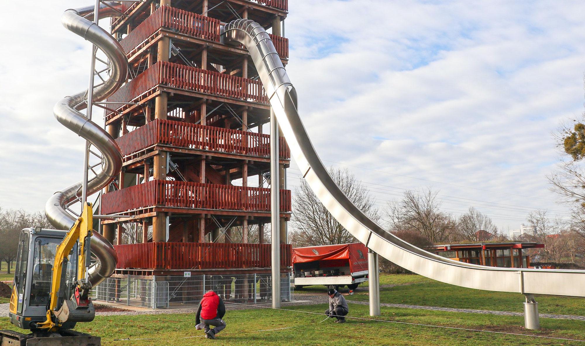 Riesen-Rutschen und Seilbahnen: Neue Attraktionen für den Elbauenpark