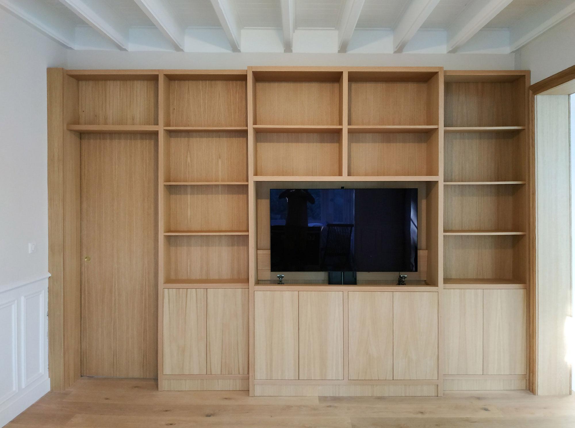 Meuble TV télescopique et bibliothèque