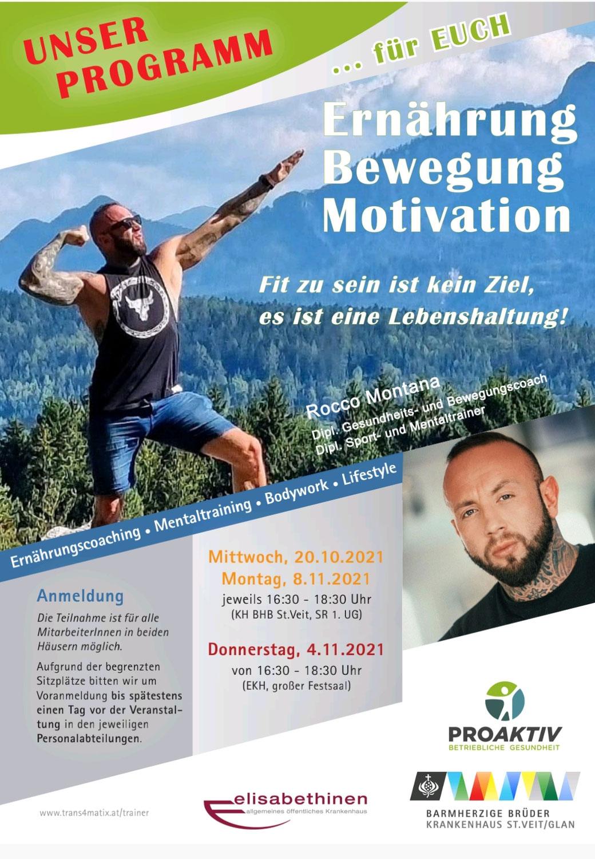 Vortrag: Ernährung, Bewegung, Motivation mit Rocco Montana.
