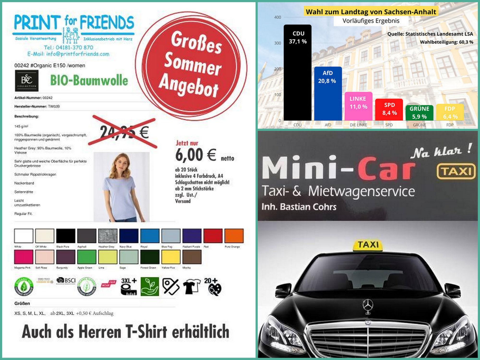 """Überraschende Wahlergebnisse in Sachsen-Anhalt! """"Nachhaltige"""" T-Shirts bei PRINT for FRIENDS! Mini Car verstärkt sein Team!"""