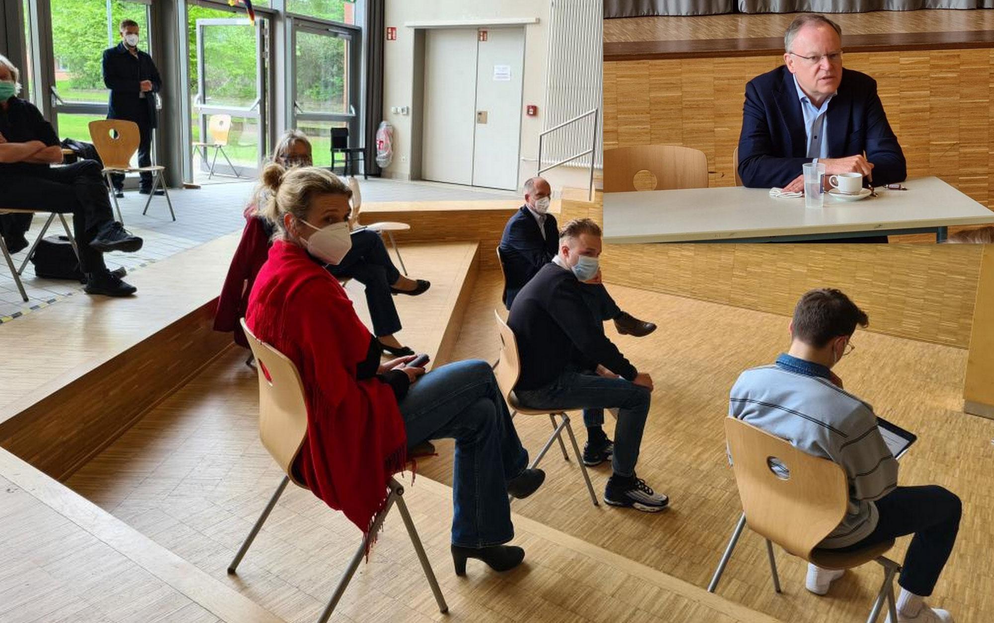 Schulbelange zu Pandemiezeiten: SPD Bürgermeister-Kandidat Tobias Handtke lud zum Dialog mit Ministerpräsident Stephan Weil ins Gymnasium Neu Wulmstorf ein!