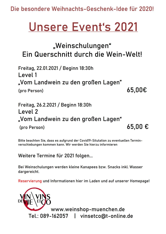 Unserer Events 2021 - Weinschulung