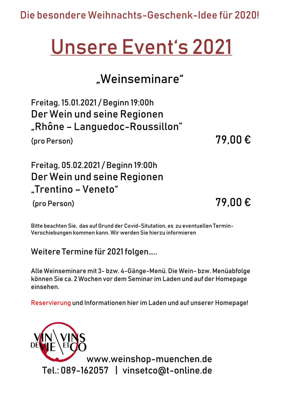 Unsere Events 2021 - Weinseminare