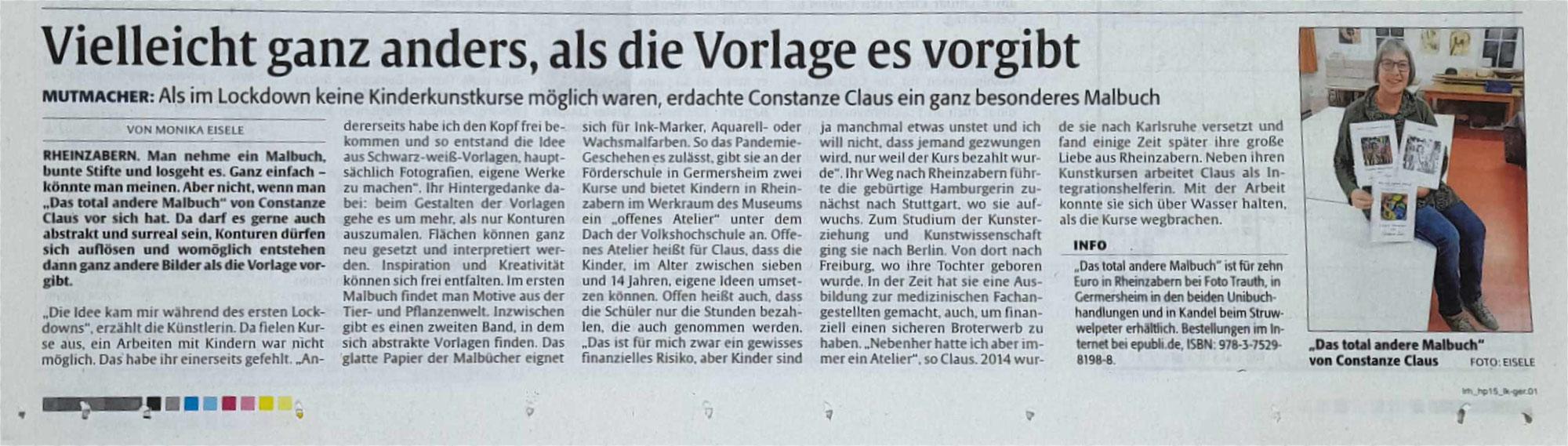 """Zeitungsbericht in """"Die Rheinpfalz"""""""