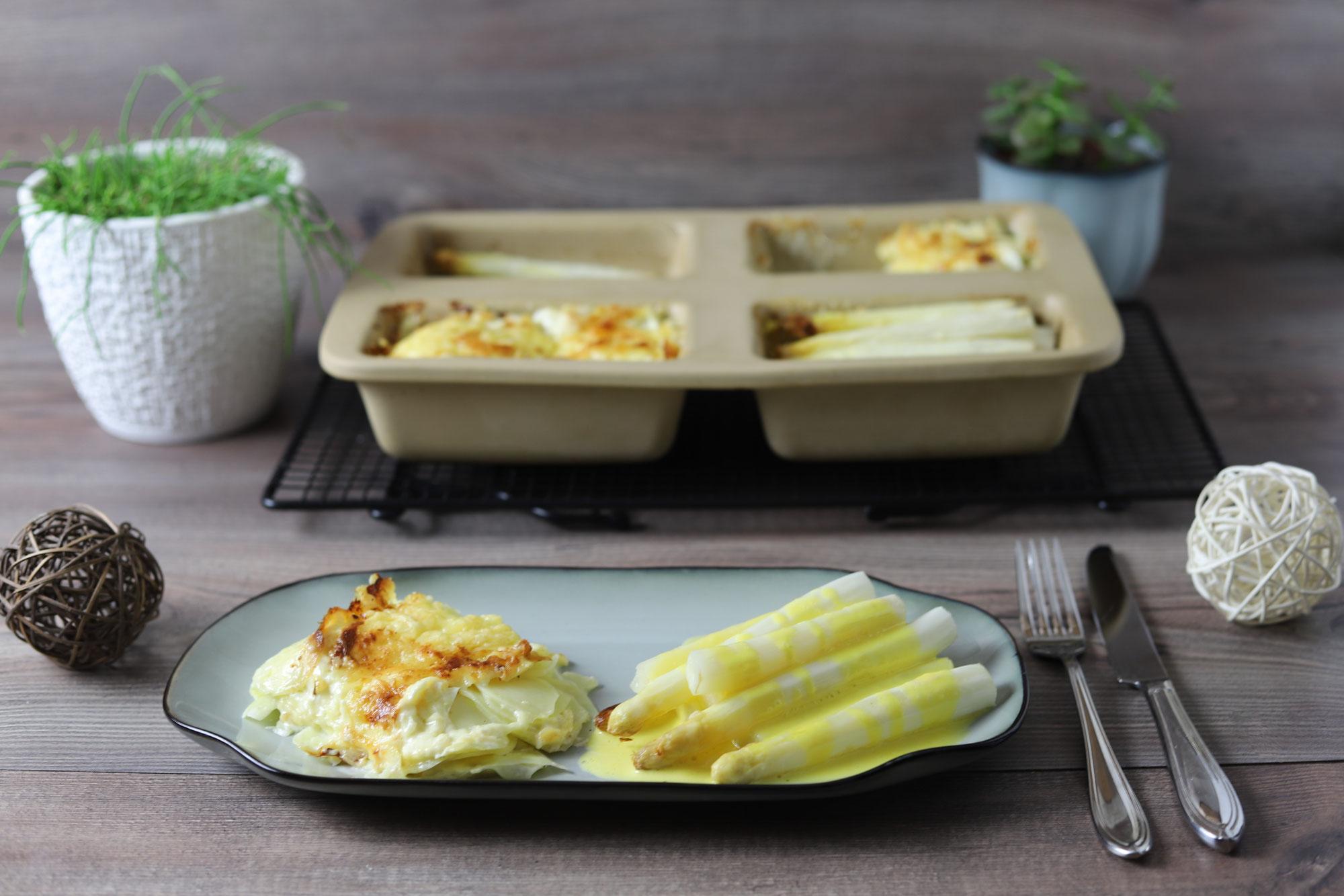 Spargel mit Kartoffelgratin in der Mini-Kastenform von Pampered Chef®