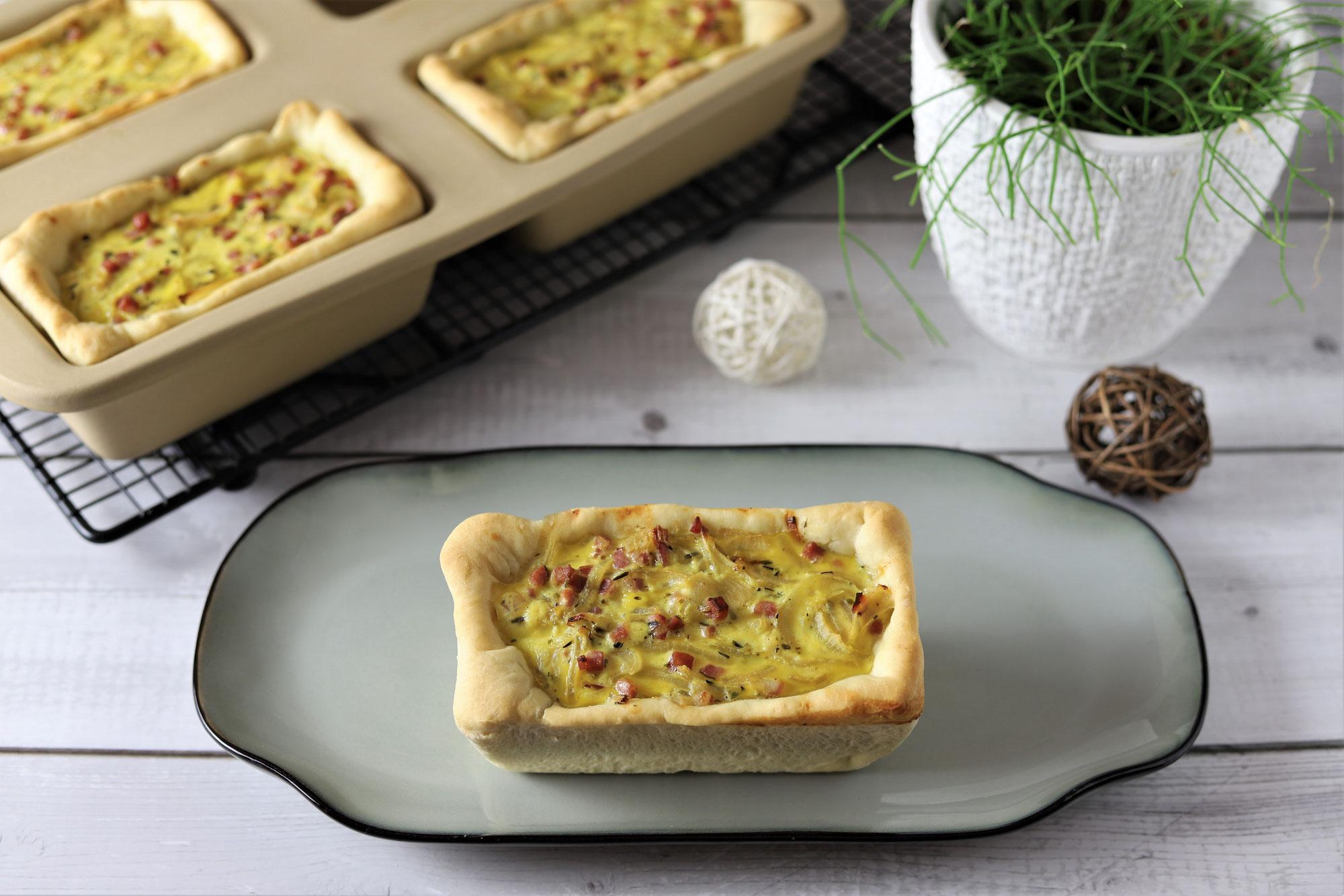 Mini-Zwiebelkuchen in der Mini-Kastenform von Pampered Chef®