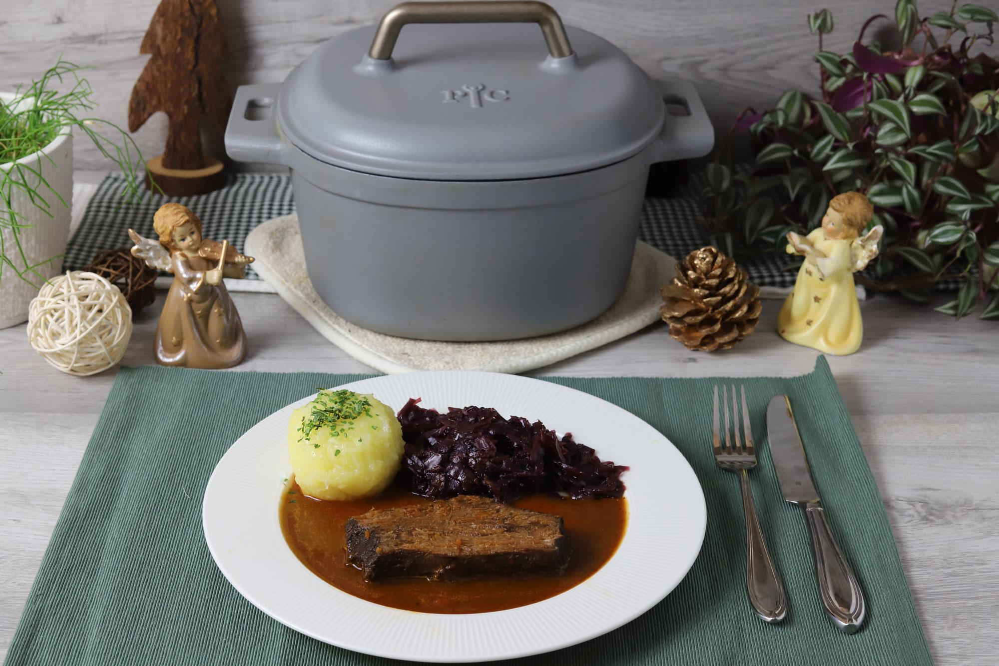 Rinderbraten mit Glühweinsoße im emaillierten Gusstopf von Pampered Chef®