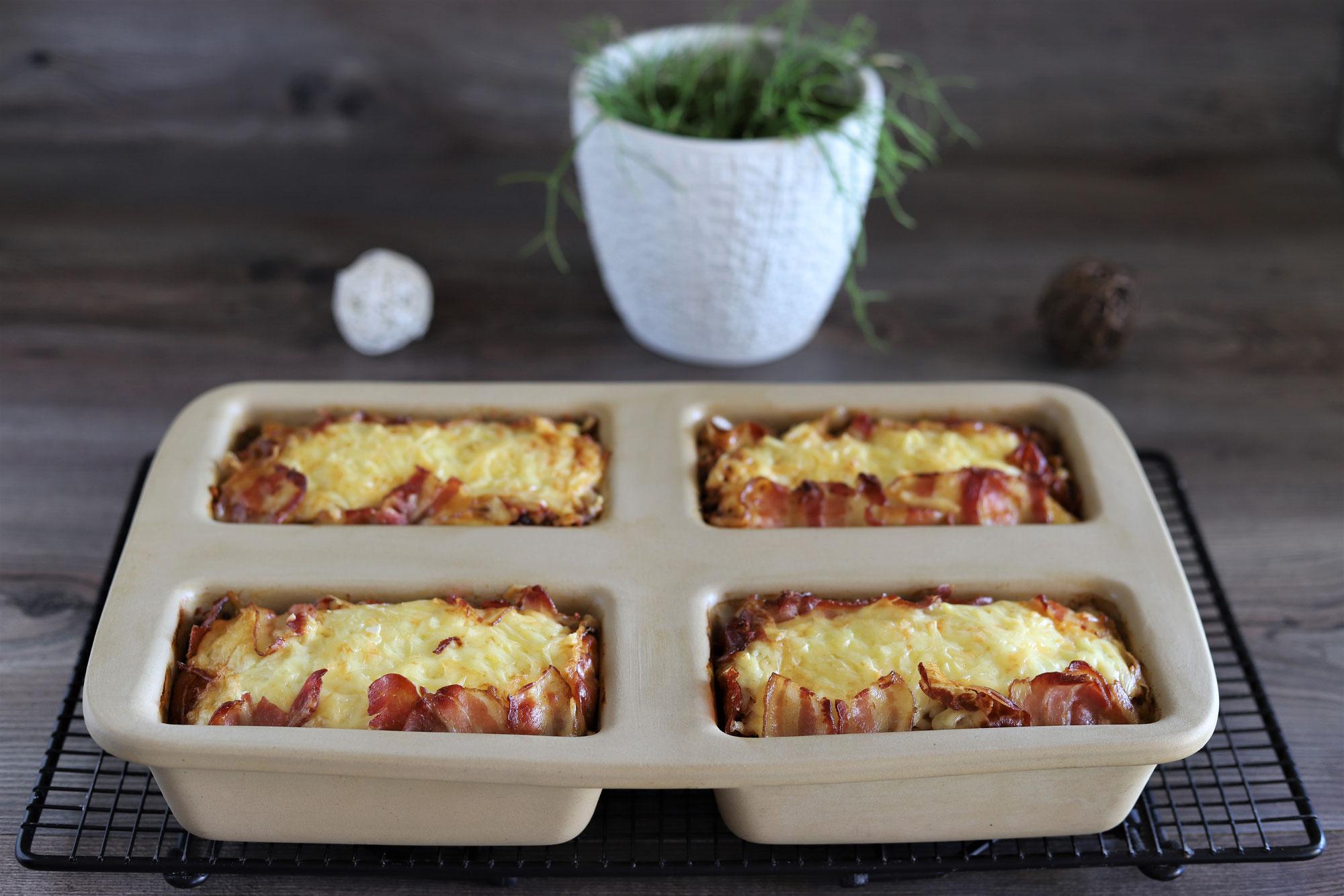 Bacon-Lasagne in der Mini-Kastenform von Pampered Chef®