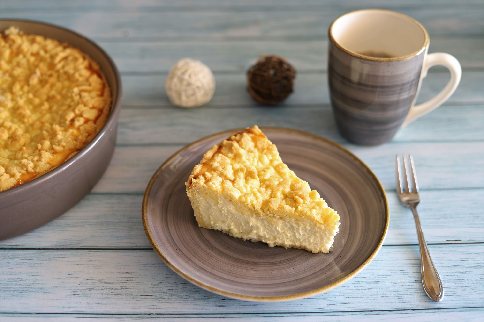 Käsekuchen mit Streuseln in der Stoneware rund von Pampered Chef®