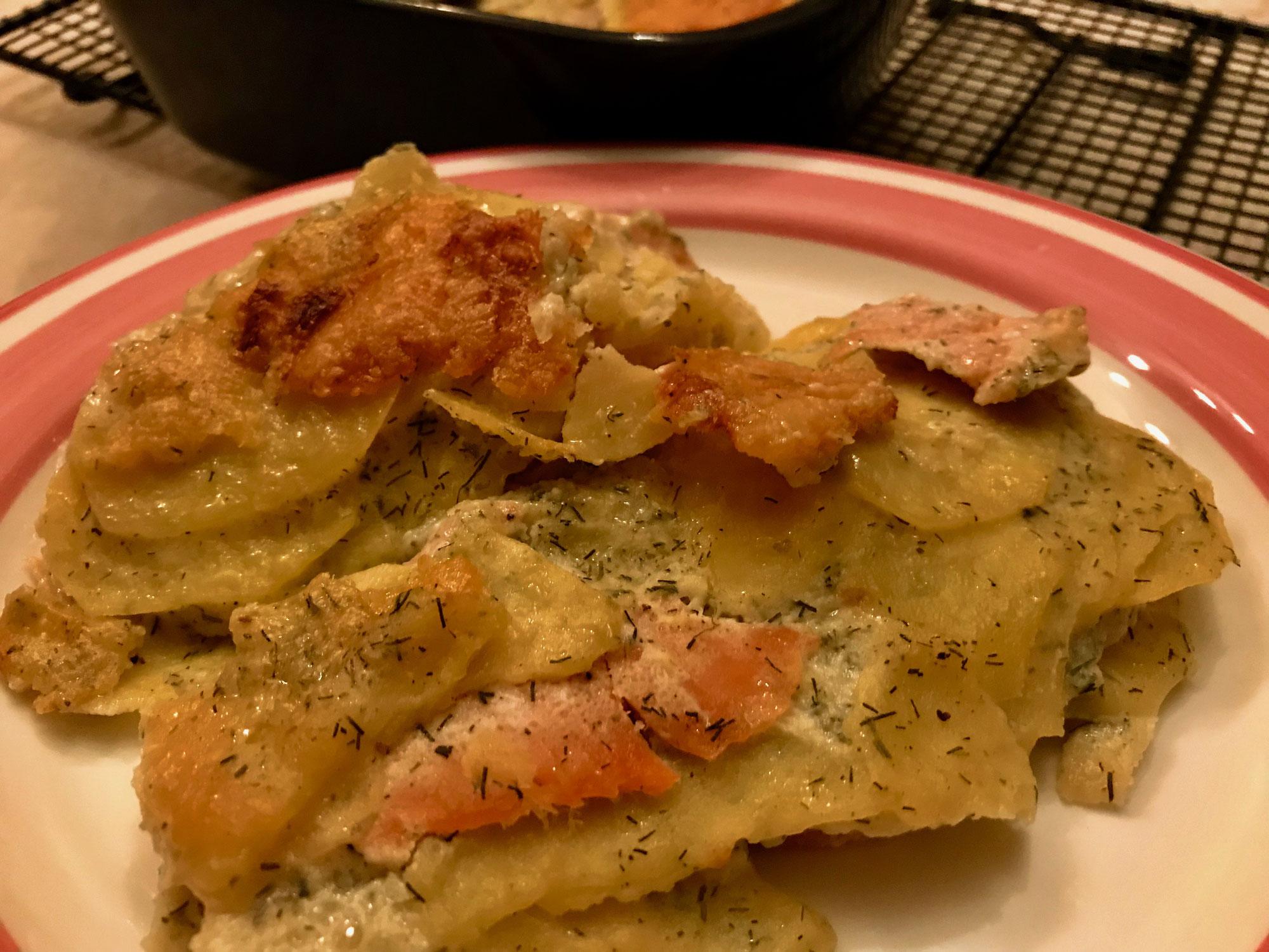 Kartoffel-Lachs-Gratin aus dem Bäker von Pampered Chef®