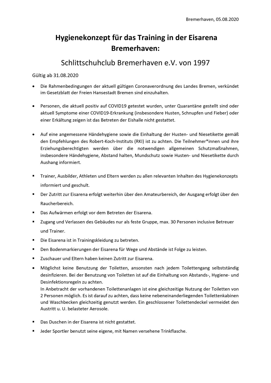 Hygienekonzept SCB 2020