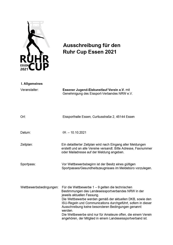 Ausschreibung Ruhr Cup 2021