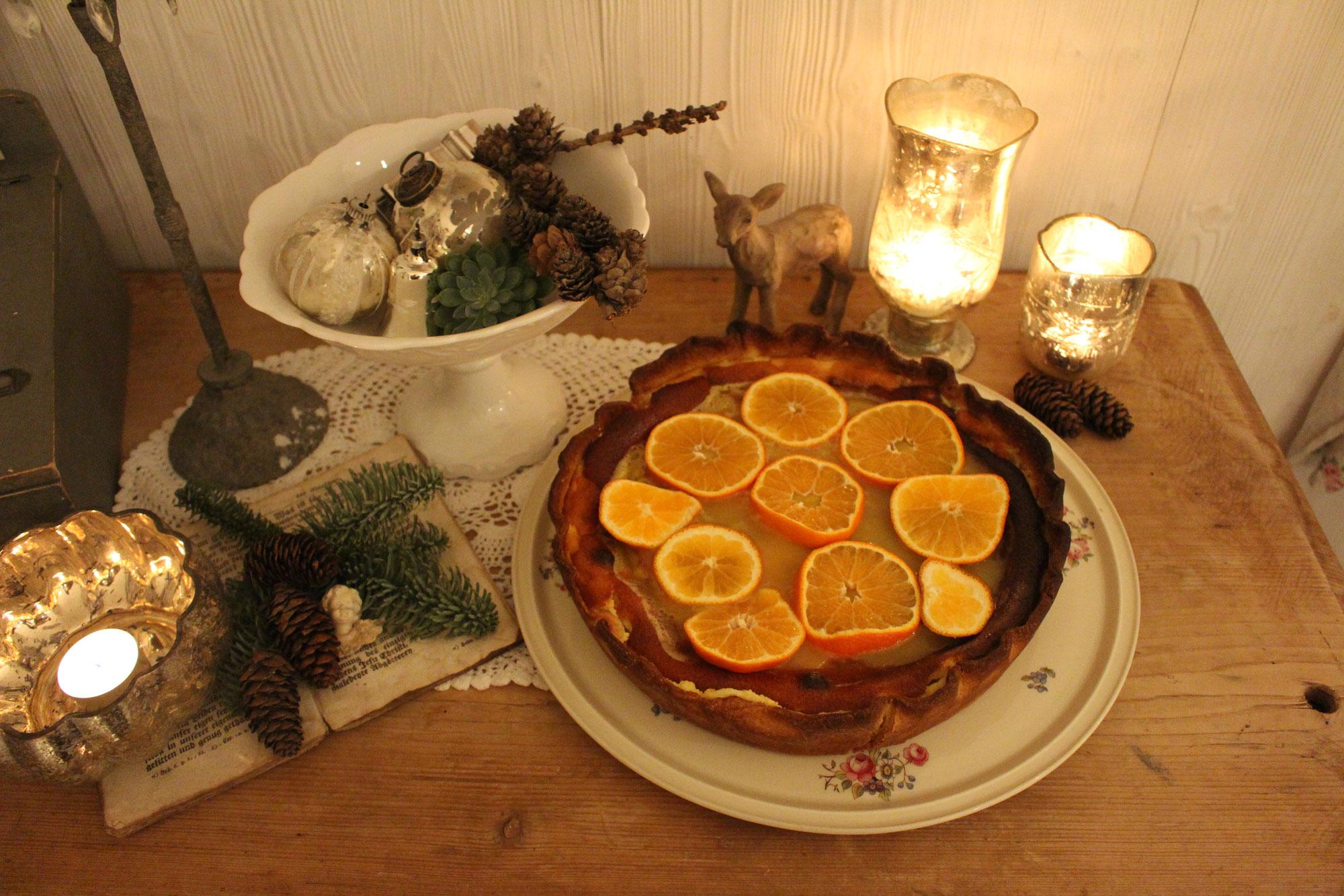 Zur Weihnachtszeit einen Mandarinen Cheesecake