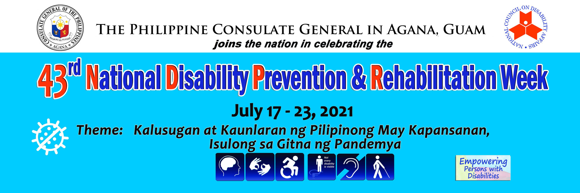 July 17-23 is 43rd National Disability Prevention and Rehabilitation (NDPR) Week