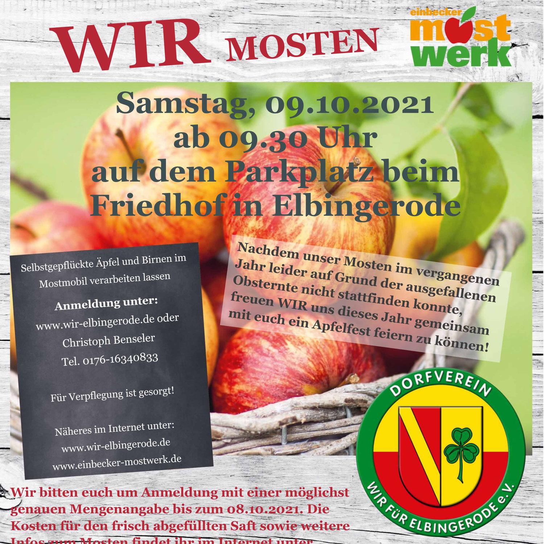 Neues zu WIR MOSTEN - Apfelfest am 9.10. in Elbingerode!