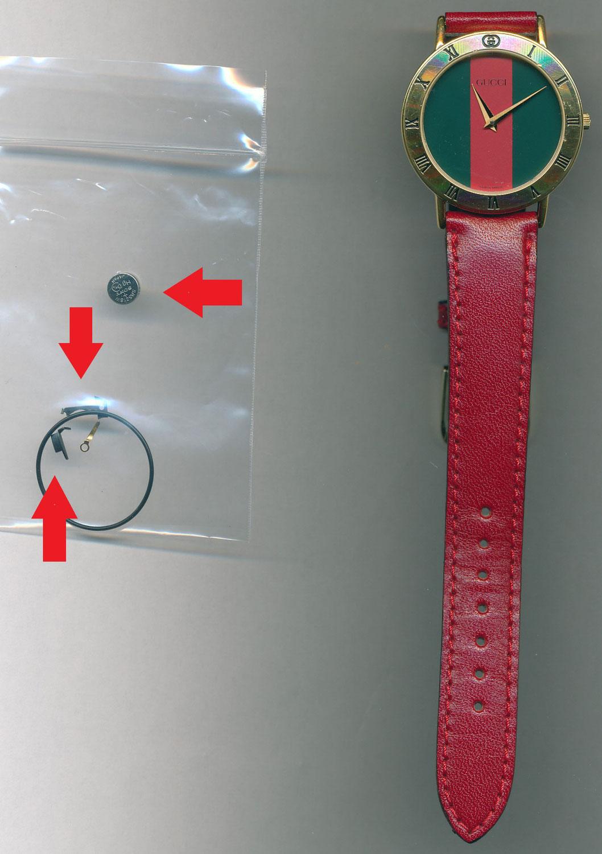 グッチ(GUCCI) シェリーライン文字盤(Rif.3000.2.M) オーバーホール ・コイルカバー交換・マイナスリード板交換電池交換・パッキン交換をさせて頂きました