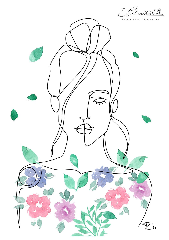 One Line Art mit Aquarell Blumen