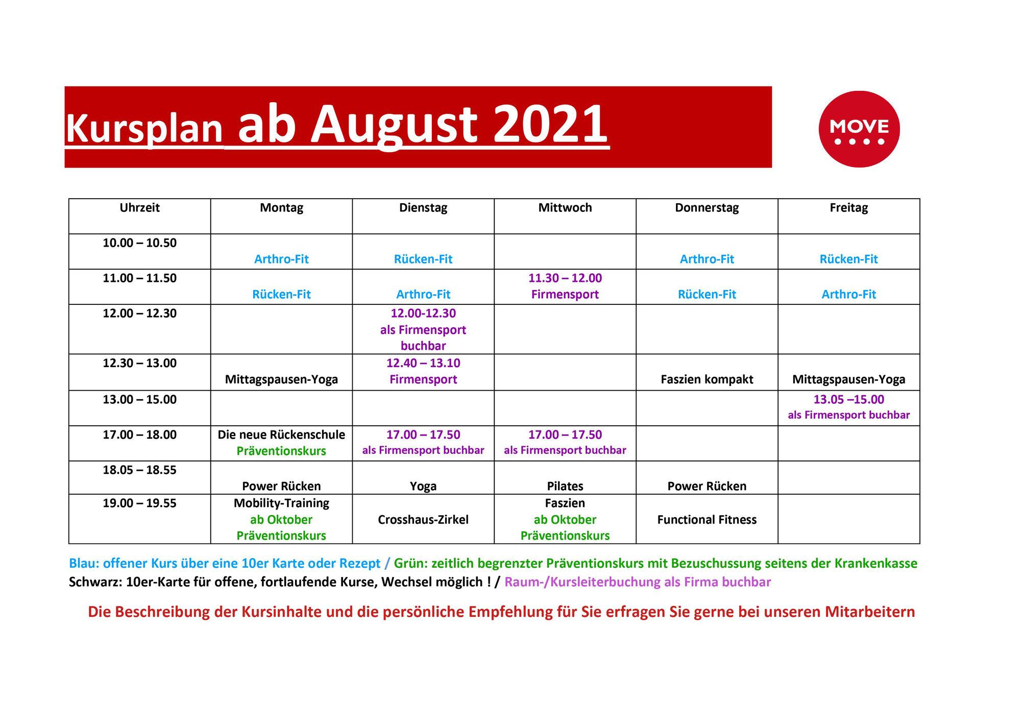 NEU! Kursplan ab August 2021