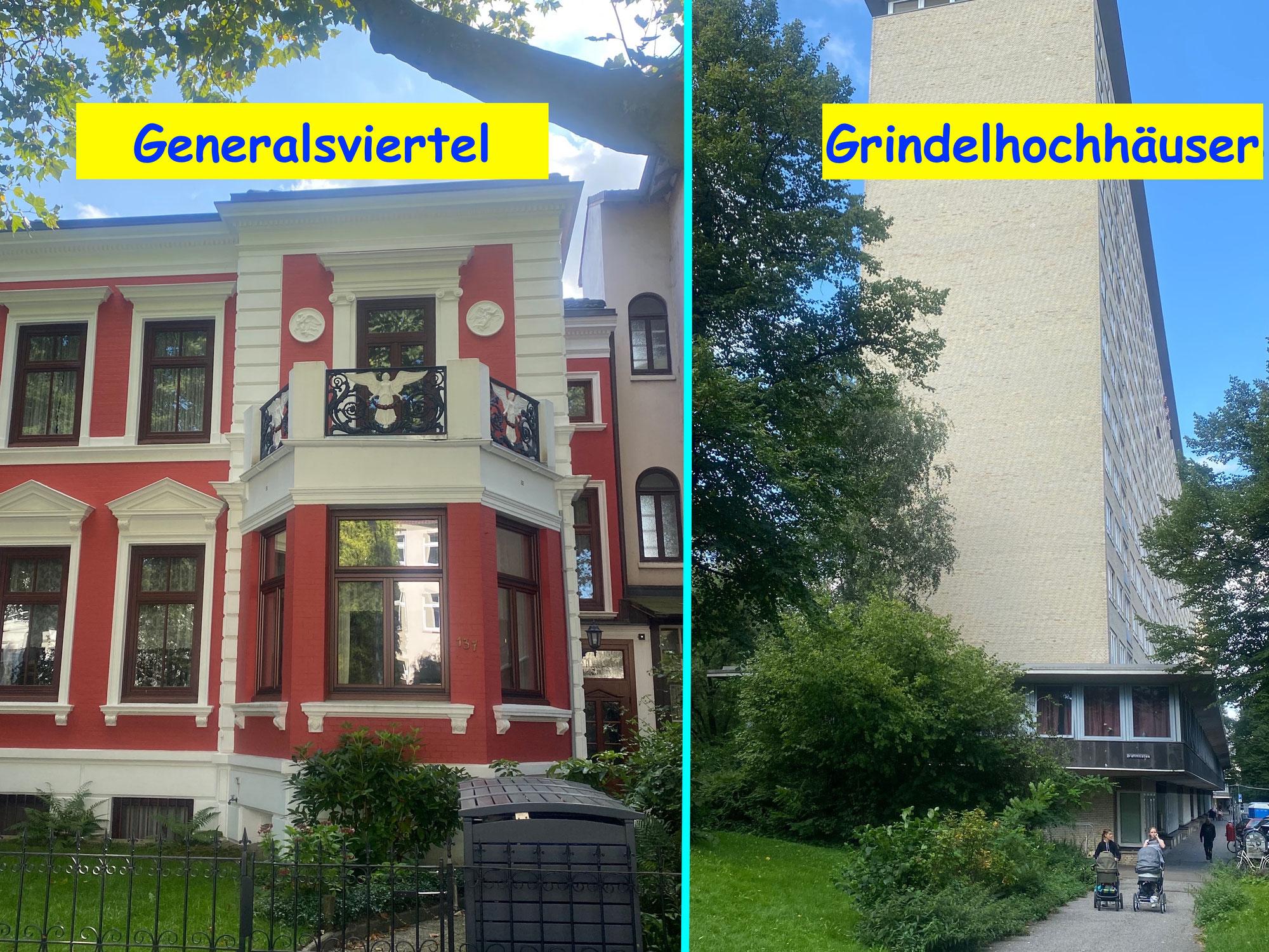 Das Generalsviertel und die Grindelhochhäuser in Hamburg