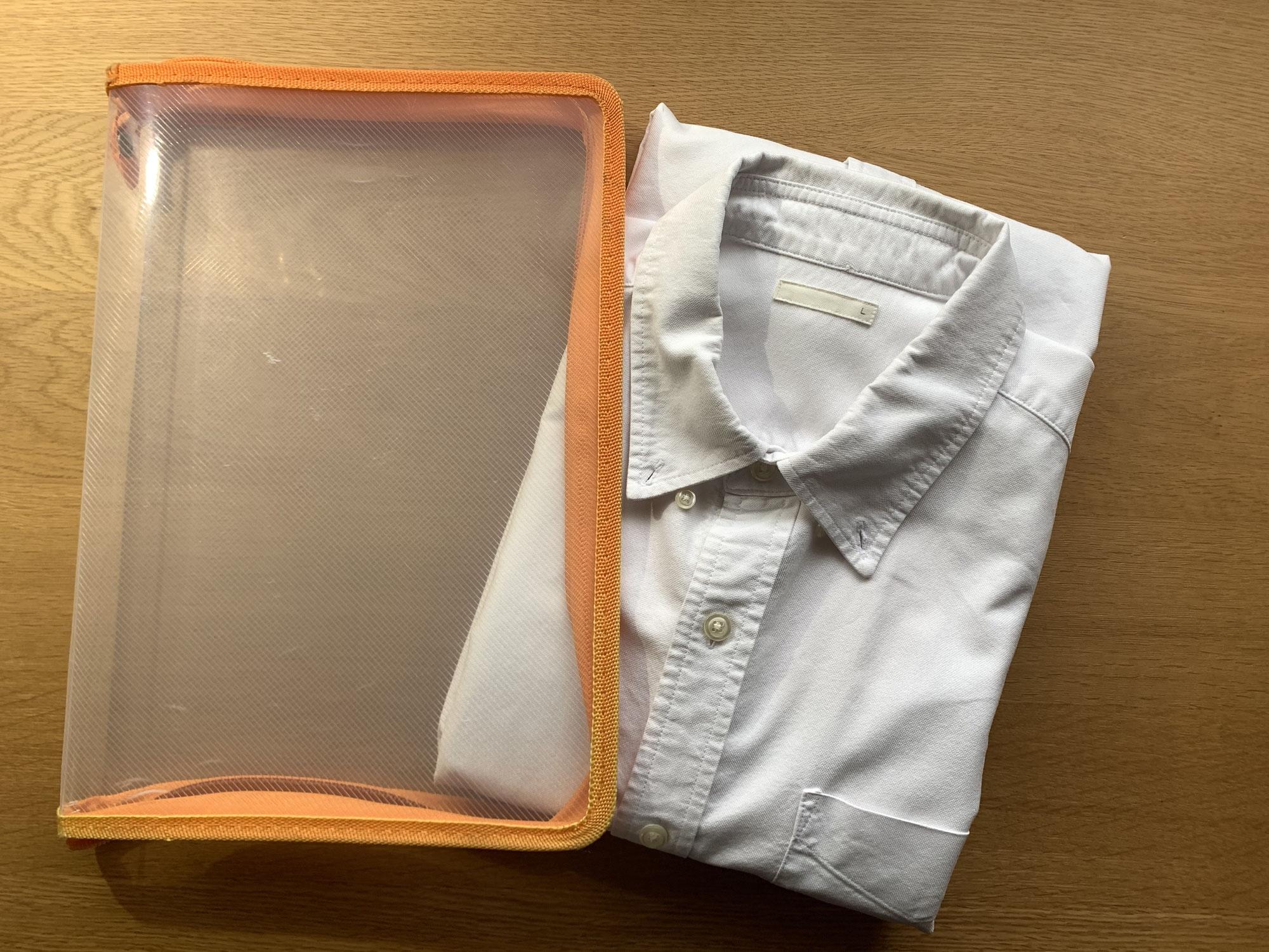 ワイシャツTシャツ持ち運び用収納方法